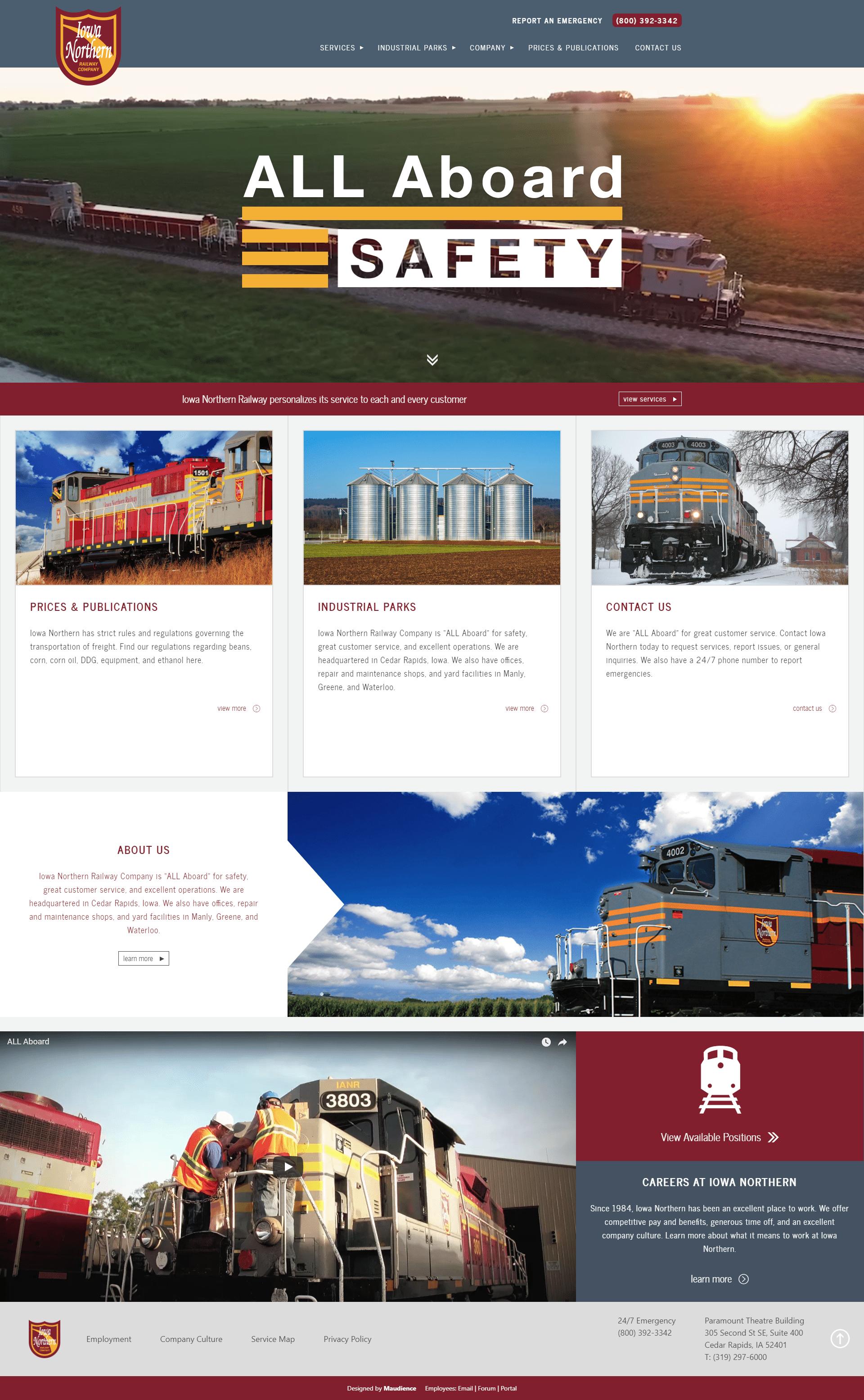 Iowa Northern Desktop View of Website