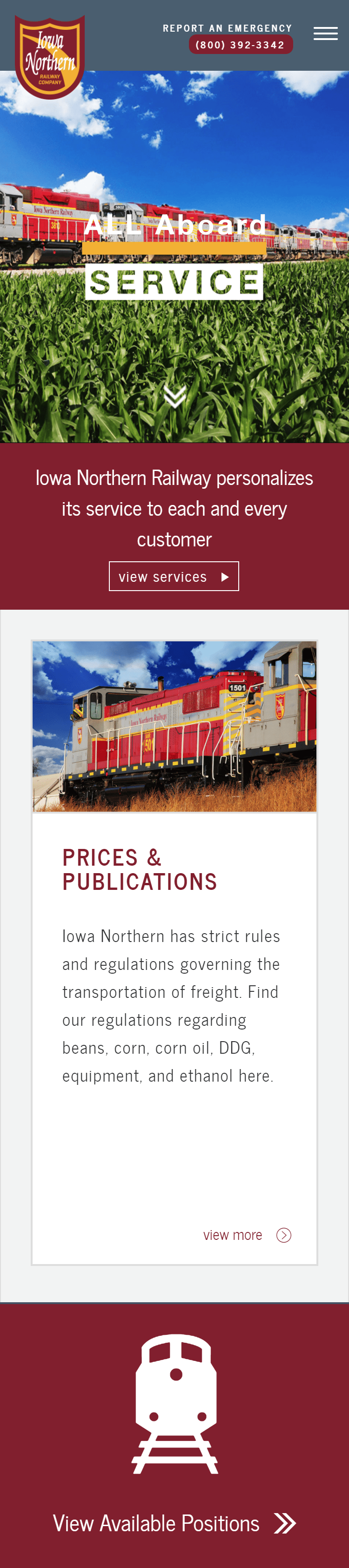 Iowa Northern Tablet Website View